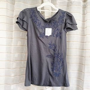 NWT Anthropologie Deletta Embroidered Tee Shirt